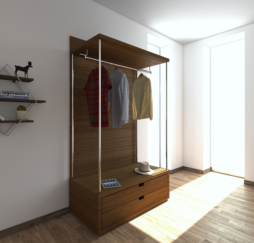 horizontal walnut open coat hanger