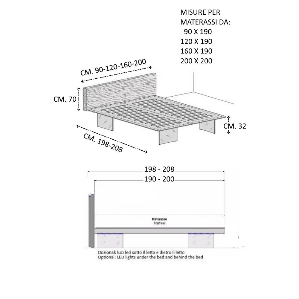 Dimensioni letto ari bed con testiera air