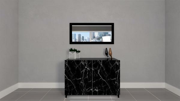 Madia moderna effetto marmo con specchio urban laccato nero