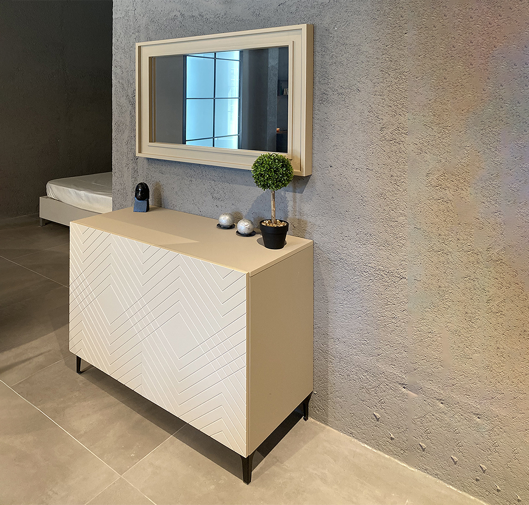Modern sideboard with urban engraving and mirror