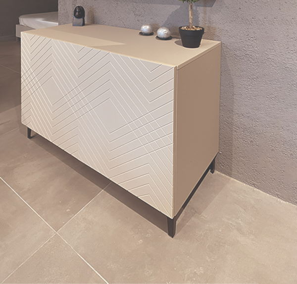 sideboard with white missoni engravings