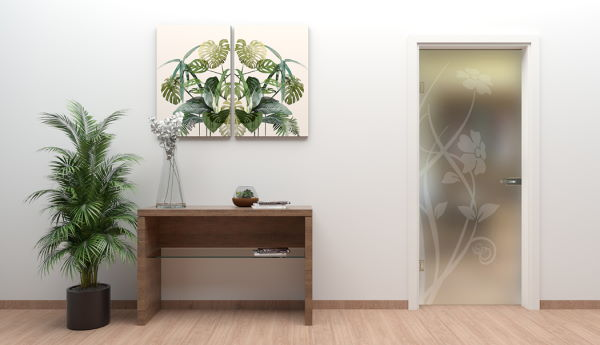 Entrance console in horizontal walnut