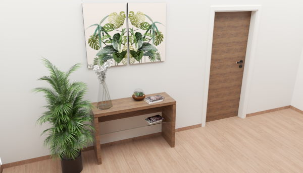 entrance console with glass shelf