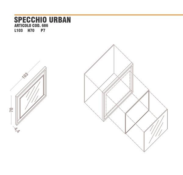 Disegno dimensioni specchio urban