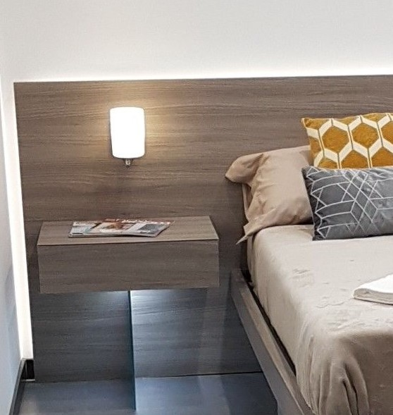 suspended bedside tables with shelf