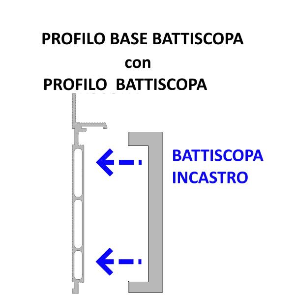 Profilo base con battiscopa filomuro ad incastro